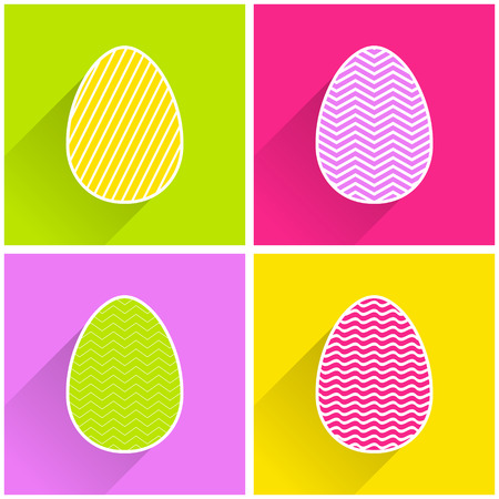 Flat easter egg with geometric pattern illustration for holiday background. Creative and fashion style card Stock Illustratie