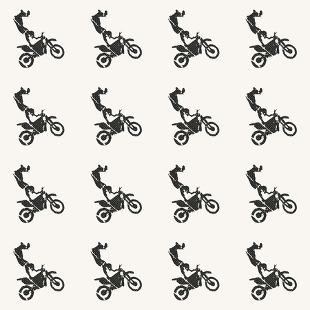 Motorbike and bikers man pattern illustration. Creative and sport style image Banco de Imagens - 113559886