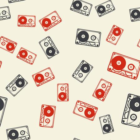 Random cassette pattern, music illustration. Creative and luxury cover Ilustração
