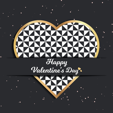 Valentines day card for holiday template with geometric hearts illustration. Creative and luxury style pattern 向量圖像