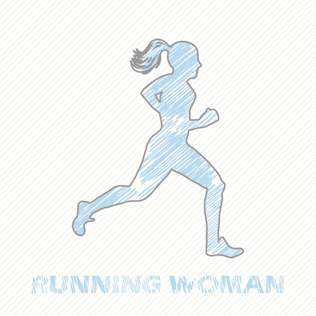 Running woman illustration. Creative and sport style image