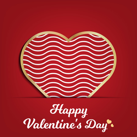 Valentines day card for holiday template with geometric hearts illustration. Creative and luxury style pattern Ilustração