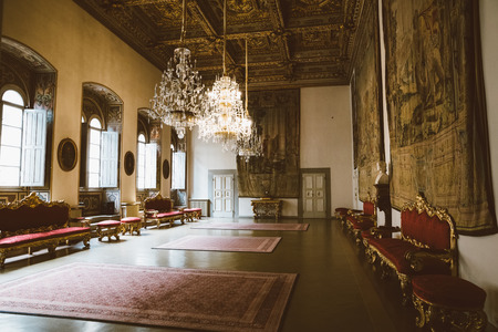 Florence, Italy - June 25, 2018: Panoramic view of interior of Palazzo Medici, also called Palazzo Medici Riccardi. It is Renaissance palace in Florence. It is seat of Metropolitan Florence and museum Sajtókép