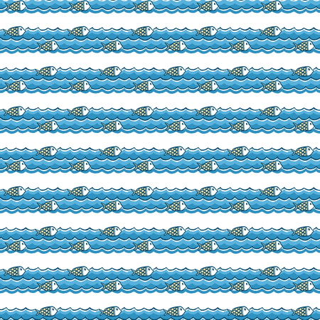 Nautical pattern, marine animals on waves. Summer background. Elegant and luxury style illustration Illusztráció