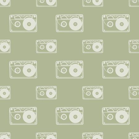 Cassette pattern, music background. Retro and luxury style illustration