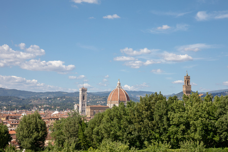 Panoramic view on historic center of Florence city in Italy from Boboli Gardens (Giardino di Boboli) is a park. Summer day and blue sky.