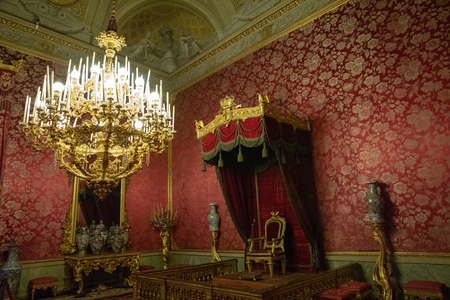 Florence, Italy - June 26, 2018: Panoramic view of interior and arts of Palazzo Pitti (Pitti Palace) is palace in Florence. It is situated on south side of the River Arno Sajtókép
