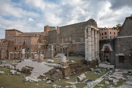 Panoramic view of Temple of Mars Ultor was an ancient sanctuary in Ancient Rome and Forum of Augustus is one of the Imperial forums of Rome. Summer day and blue sky 写真素材