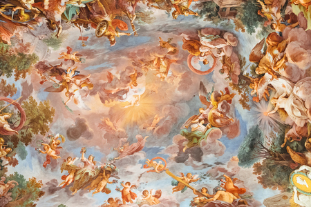 Rome, Italy - June 22, 2018: Art fresco in Galleria Borghese of Villa Borghese Editorial