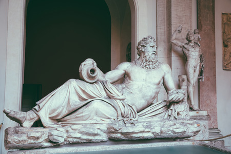 Rome, Italy - June 22, 2018: Baroque marble sculptures in Vatican museum