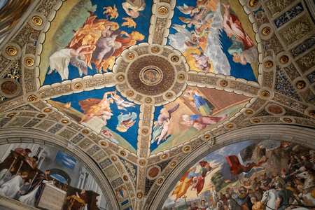 Vatican city, Vatican - June 22, 2018: Art fresco in Vatican museum