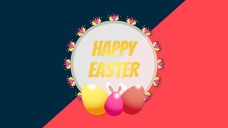 Animated closeup Happy Easter text and egg on red and blue background. Luxury and elegant dynamic style template for holiday Banque d'images - 120042843