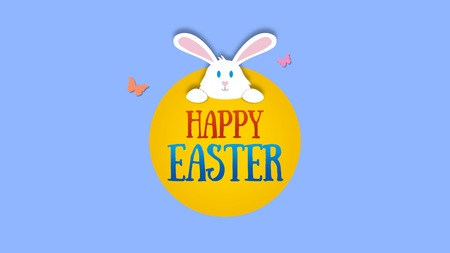 Animated closeup Happy Easter text and rabbit on blue background. Luxury and elegant dynamic style template for holiday Stock Photo