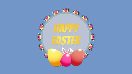 Animated closeup Happy Easter text and egg on blue background. Luxury and elegant dynamic style template for holiday