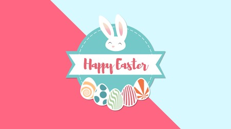 Closeup Happy Easter text and rabbit on red and blue background. Luxury and elegant dynamic style template for holiday
