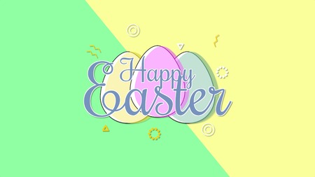 Closeup Happy Easter text and egg on yellow and green background. Luxury and elegant dynamic style template for holiday