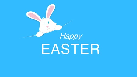 Closeup Happy Easter text and rabbit on blue background. Luxury and elegant dynamic style template for holiday Stock Photo