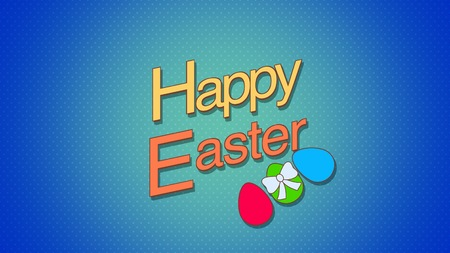 Closeup Happy Easter text and eggs on blue background. Luxury and elegant dynamic style template for holiday