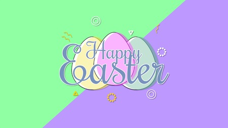 Closeup Happy Easter text and eggs on purple and green background. Luxury and elegant dynamic style template for holiday Stock Photo