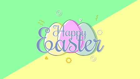 Closeup Happy Easter text and eggs on yellow and green background. Luxury and elegant dynamic style template for holiday
