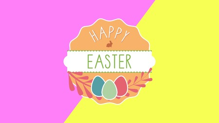 Closeup Happy Easter text and eggs on yellow and pink background. Luxury and elegant dynamic style template for holiday Stock Photo