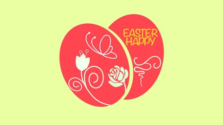 Closeup Happy Easter text and eggs on yellow background. Luxury and elegant dynamic style template for holiday Stock Photo
