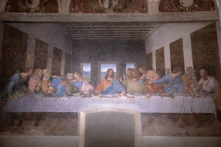 Milan, Italy - June 27, 2018: Interior of refectory of the convent Santa Maria delle grazie (Holy Mary of Grace), on wall mural of The Last Supper by Leonardo da Vinci