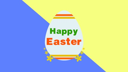 Closeup Happy Easter text and egg on yellow and blue background. Luxury and elegant dynamic style template for holiday Stock Photo