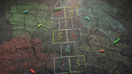 Closeup colorful chalk on asphalt, school background. Elegant and luxury illustration of education theme