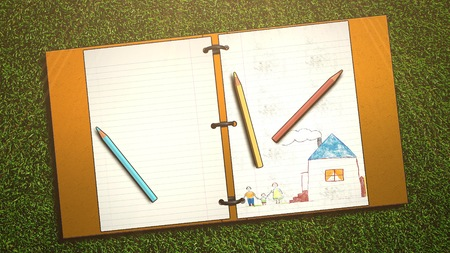 Closeup table of student with notebook and pencil, school background. Elegant and luxury illustration of education theme