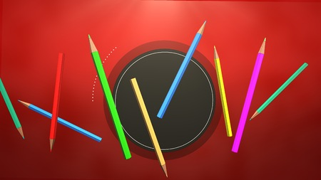 Closeup colorful pencil on table, school background. Elegant and luxury illustration of education theme