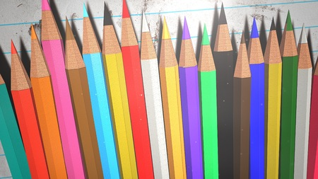 Closeup colorful pencil on paper, school background. Elegant and luxury illustration of education theme