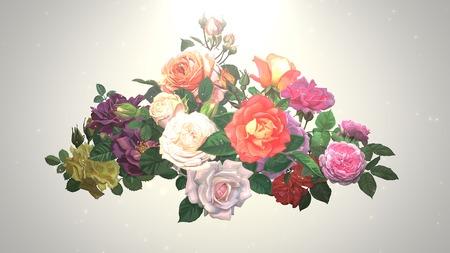 Closeup vintage flowers, wedding background. Elegant and luxury pastel style illustration