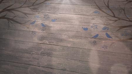 Closeup birds on trees on wood, wedding background. Elegant and luxury pastel style illustration