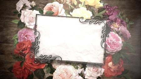 Closeup vintage frame with flowers, wedding background. Elegant and luxury pastel style illustration