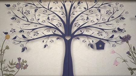 Closeup vintage flowers and tree, wedding background. Elegant and luxury pastel style illustration