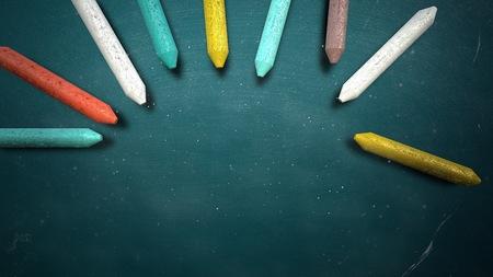 Closeup colorful chalk on blackboard, school background. Elegant and luxury illustration of education theme