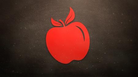 Closeup red apple on blackboard, school background. Elegant and luxury illustration of education theme