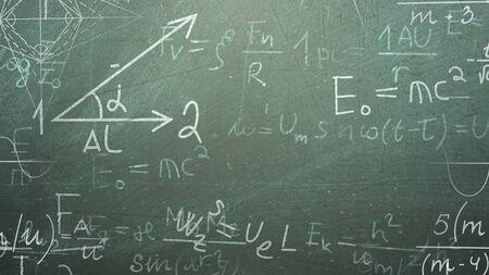 Formula matematica del primo piano ed elementi sulla lavagna, fondo della scuola. Illustrazione 3D elegante e di lusso del tema educativo