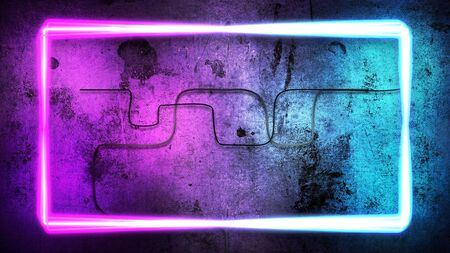 Colorful neon lights on wall, abstract background. Elegant and luxury dynamic club style, 3D illustration Archivio Fotografico - 129218100