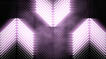 Colorful neon lights and stripes pattern, abstract background. Elegant and luxury dynamic club style, 3D illustration Archivio Fotografico - 129216781