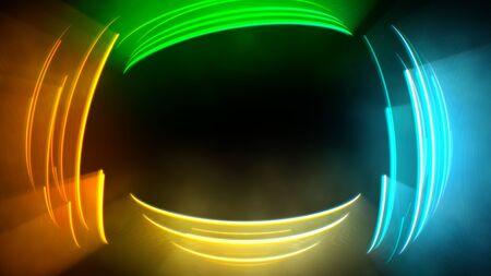 Motion colorful circles vertigo, abstract background. Elegant and luxury dynamic neon club style, 3D illustration Archivio Fotografico - 129216999