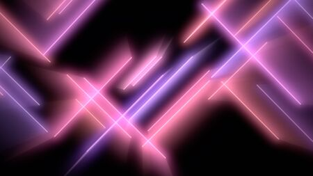 Motion colorful neon lines abstract background. Elegant and luxury dynamic club style, 3D illustration Archivio Fotografico - 129217014