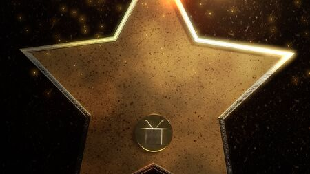 Gold star, abstract background. Elegant and luxury dynamic style for awards 3D illustration Archivio Fotografico - 129217015