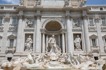 Panoramic view of Trevi Fountain in the Trevi district in Rome, Italy. It designed by Italian architect Nicola Salvi and completed by Giuseppe Pannini Editoriali