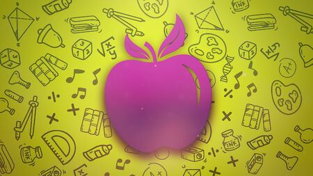 Closeup apple on school background. Elegant and luxury 3D illustration of education theme Foto de archivo - 129421340