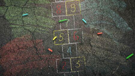 Closeup colorful chalk on asphalt, school background. Elegant and luxury 3D illustration of education theme Foto de archivo - 129421348