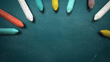 Closeup colorful chalk on blackboard, school background. Elegant and luxury 3D illustration of education theme Foto de archivo - 129421356