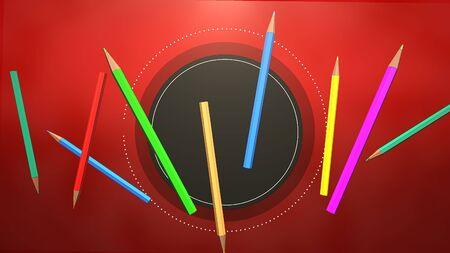 Closeup colorful pencil on table, school background. Elegant and luxury 3D illustration of education theme Foto de archivo - 129421360