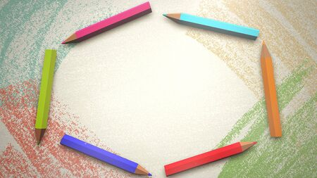 Closeup colorful pencil on paper, school background. Elegant and luxury 3D illustration of education theme